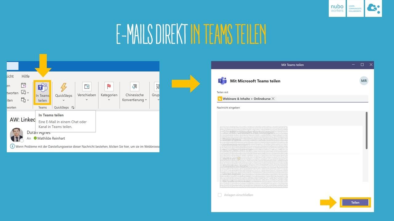 Anleitung E-Mails in Microsoft Teams teilen
