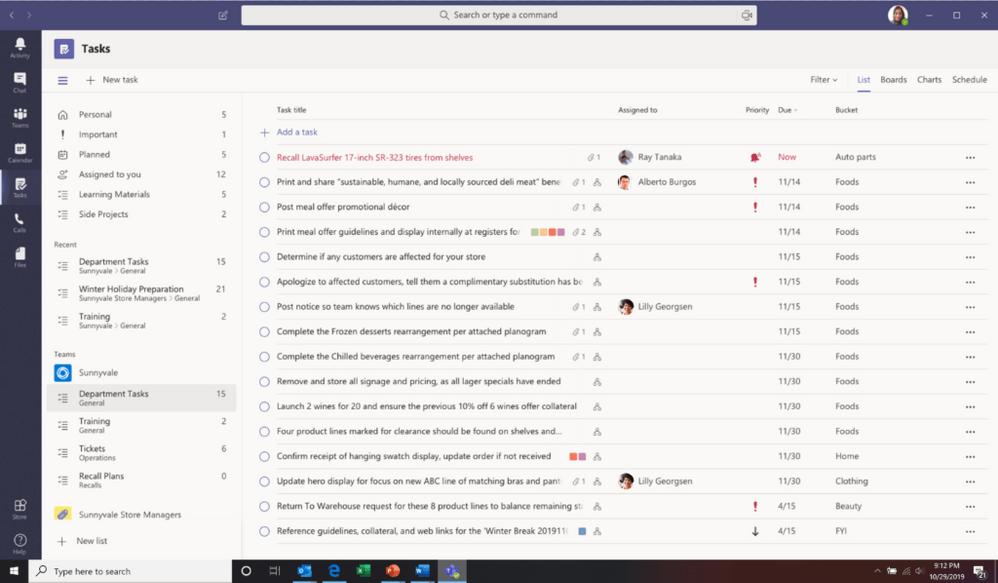 Tasks Microsoft Teams