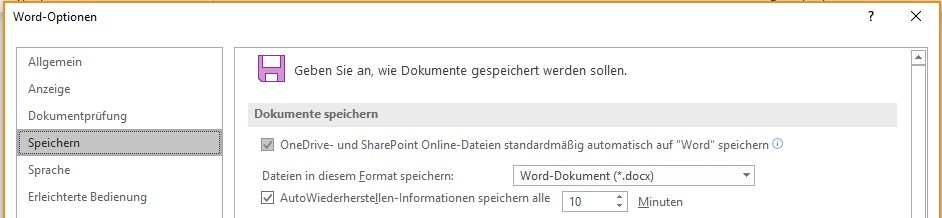 Autosave Word Optionen | nuboRadio