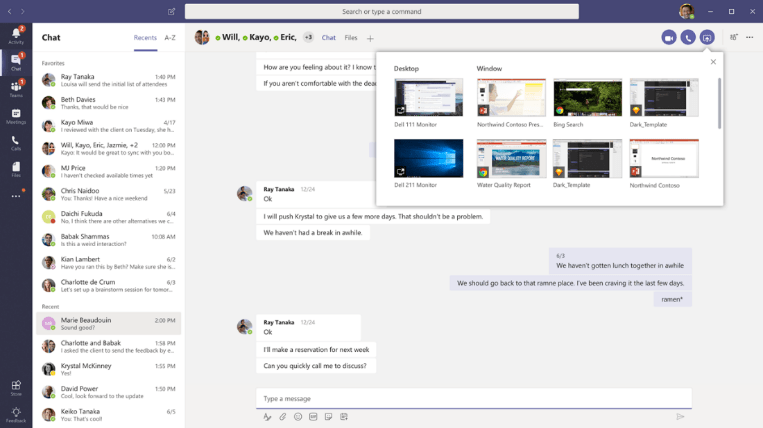 screen sharing aus chats